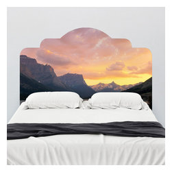 J. Paul Moore - Paul Moore's St. Mary's Lake, Glacier National Park Headboard Wall Decal - Paul Moore captured the majesty of Glacier National Park and we put it on an adhesive headboard wall decal. Fall asleep under the vanilla skies of St. Mary's Lake with this sunset photo.