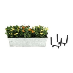 Deck Bracket Kit I - The Deck Bracket Kit I's flower box features an embossed floral pattern that dresses up this traditional planter. Drain holes allow for direct planting. Constructed of durable, long-lasting galvanized steel.About ACHLA DesignsThis item is created by ACHLA Designs. ACHLA is a garden accessories company that emphasizes unique wood and hand-forged, wrought iron European furnishings for the home and garden. ACHLA Designs continues to add beautiful and unique items year after year, resulting in an unusually large product line. All ACHLA products are stocked in the company's warehouse for year-round, prompt shipping. ACHLA Designs takes great pride in offering exceptional products and customer service.