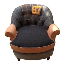 Pre-owned Mens Suit Fabric Club Chair - GO 67!! This super fun upholstered chair is solid, comfortable and stylish. Upholstered in grey and orange mens suit fabrics this is a for sure statement piece. GO college! GO sports! GO Brad GO!