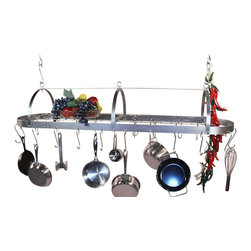 "HSM - 48 Inch Oval Hanging Stainless Steel Pot Rack With Grid - Dimensions: 48""W x 12-1/2""D x 9-1/2""H"