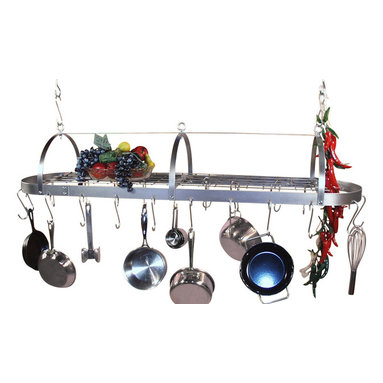 """HSM - 48 Inch Oval Hanging Stainless Steel Pot Rack With Grid - Dimensions: 48""""W x 12-1/2""""D x 9-1/2""""H"""