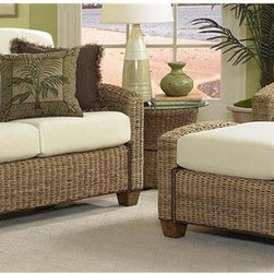 HomeStyles - 3-Pc Living Room Set (Cocoa) - Finish: CocoaIncludes chair, ottoman and loveseat with ecru colored cushions. Side table not included. Made from mahogany hardwood and natural woven banana leaves. Made in Indonesia. Chair: 36 in. W x 29.75 in. D x 31.75 in. H. Ottoman: 32 in. L x 22 in. W x 20.5 in. H. Loveseat: 53.75 in. L x 36 in. W x 31.75 in. H. Chair Assembly Instruction. Ottoman Assembly Instruction. Loveseat Assembly InstructionCreate the feel of the islands with the Cabana Banana Chair, Ottoman and Loveseat with its light, airy, casual styling. Cleaning instructions for fabric - Use any commercial upholstery cleaner.