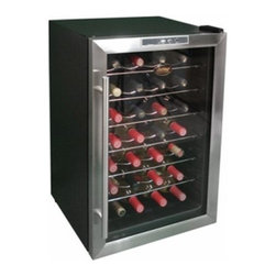 Vinotemp - 28 Bottle Thermoelectric Wine Cooler - Featuring a black cabinet with stainless steel door trim and sturdy wire shelf racking, the VT-28TEDS cooler holds up to 28 bottles. This compact, freestanding unit is designed to keep your wine at the right temperature and can be placed just about anywhere.