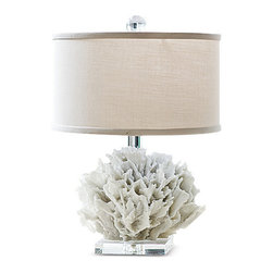 Kathy Kuo Home - Sandestin Coastal Beach White Ribbon Coral Crystal Table Lamp - A pretty piece of underwater treasure, this cauliflower coral enlivens an end table or shelf in your home. Uniquely textured, the white coral contrasts with the smooth, clear crystal base. An ivory drum shade trimmed in ribbon is the finishing touch to this modern masterpiece.