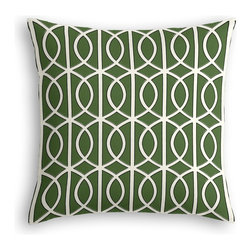 Green Modern Trellis Custom Pillow - The every-style accent pillow: this Simple Throw Pillow works in any space.  Perfectly cut to be extra fluffy, you'll not only love admiring it from afar but snuggling up to it too!  We love it in this rounded trellis in emerald green & white on soft lightweight line. your gateway to a chic modern look.