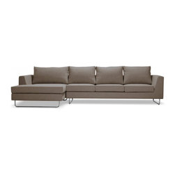 Asher Fabric Chaise Sectional - The Asher is designed to play a starring role. And at nearly ten and a half feet long, its outline and polished chrome legs still render it seeming nearly weightless.