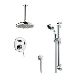 Remer - Modern Chrome Round Rain Shower Faucet Set - Multi function shower faucet.