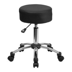Flash Furniture - Flash Furniture Medical Ergonomic Stool Black and Chrome - Flash Furniture - Drafting Chairs - BT1911GG - This backless stool is practical for any fast-paced environment. The small frame design of a backless stool makes it easy to maneuver around tight spaces with ease. This stool can be used in a multitude of environments from the Classroom Doctor's Offices Hospitals Garages and Workshops. The durable upholstery makes it easy to clean when working with liquids that can damage and stain your seat. The adjustable height and comfortably cushioned seat makes this stool a great buy to exceed your expectations.