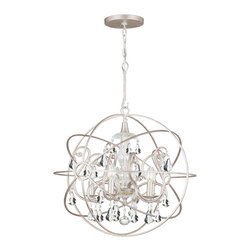 "Crystorama - Solaris Chandelier - Large - Chandelier with hand-painted wrought iron sphere and a crystal chandelier dressed with clear hand-cut crystals. Takes 5 - 60 w/c bulbs. Chain: 72"" Wire: 120"""