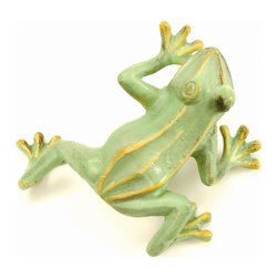 Achla - Jumping Frog in Green - Set of 4 - Set of 4. Cast Aluminum. 6 in. W x 8 in. L x 3.5 in. H
