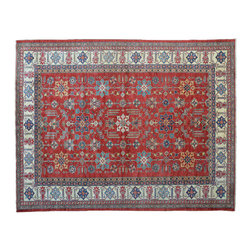 Denim Blue Area Rug, Hand Knotted 9'X12' Super Kazak 100% Wool Rug SH11049 - This collections consists of well known classical southwestern designs like Kazaks, Serapis, Herizs, Mamluks, Kilims, and Bokaras. These tribal motifs are very popular down in the South and especially out west.