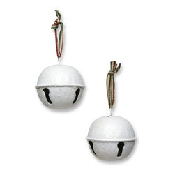 Balsam Hill White Bell Christmas Ornaments Set of 6 - JINGLE ALL THE WAY