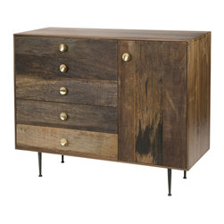 Four Hands - Julian Dresser - Round knobs and delicate legs add a playful touch to this rough-hewn, ingeniously designed dresser. Hand-crafted from three different types of eco-sourced wood, it features a cabinet door alongside five drawers, affording you classic style and modern storage options.
