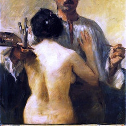 """Lovis Corinth Self Portrait with Model - 18"""" x 24"""" Premium Archival Print - 18"""" x 24"""" Lovis Corinth Self Portrait with Model premium archival print reproduced to meet museum quality standards. Our museum quality archival prints are produced using high-precision print technology for a more accurate reproduction printed on high quality, heavyweight matte presentation paper with fade-resistant, archival inks. Our progressive business model allows us to offer works of art to you at the best wholesale pricing, significantly less than art gallery prices, affordable to all. This line of artwork is produced with extra white border space (if you choose to have it framed, for your framer to work with to frame properly or utilize a larger mat and/or frame).  We present a comprehensive collection of exceptional art reproductions byLovis Corinth."""