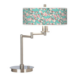 """Giclee Gallery - Asian Cherry Blossoms Giclee CFL Swing Arm Desk Lamp - Brushed steel finish. Cherry Blossoms pattern. Custom giclee shade. On/off switch on base. Includes two 13 watt CFL bulbs. Shade is 14"""" wide 5 1/2"""" high. 20 1/2"""" high.  Brushed steel finish.  Cherry Blossoms pattern.  Custom giclee shade.  On/off switch on base.  Includes two 13 watt CFL bulbs.  Shade is 14"""" wide 5 1/2"""" high.  20 1/2"""" high."""