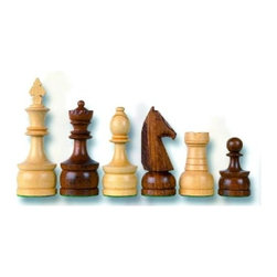 Cambor - Staunton Champ Chess Set in Wood w Natural & Walnut Finishes - Made of Wood. Natural and Walnut color. Hand carved Knights. King: 4.5 in. H / Base: 1.5 in. dia.. 12 in. L x 9 in. W x 3 in. H (5 lbs.)
