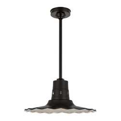 "THE VENTED PANDORA RADIAL SHADE STEM MOUNT CEILING LIGHT - 16"" Vented Pandora shown in 91-Black Finish with BLO-3/4"" ST Mounting & BLO-HSC Canopy"