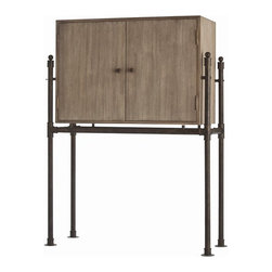 Arteriors Home - Arteriors Home Solomon Acacia Veneer/Solids Bar/Patina Stand - Arteriors Home 53 - Simplistic in design, this two-door acacia wood bar is deceiving to the eye. The antique gray finish and two doors with rustic iron pulls hide a generous adjustable glass shelf with a mirrored back and sides. Your glassware and bottles will reflect beautifully when you flick on the recessed light.