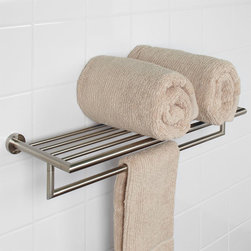 Bristow Double Towel Rack - This double towel rack from the Bristow Collection offers storage and style with its clean design accented nicely by the classic, round backplates.