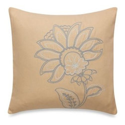 "Peacock Alley - Peacock Alley Evora Square Toss Pillow - The Evora square toss pillow showcases sweet floral embroidery on a warm apricot ground that perks up your bedding with unique color and style. Measures 16"" W x 16"" L. 100% cotton. Dry clean only. Imported."