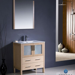 "Fresca - Fresca Torino 30"" Modern Bathroom Vanity w/ Integrated Sink - Light Oak - Fresca is pleased to usher in a new age of customization with the introduction of its Torino line. The frosted glass panels of the doors balance out the sleek and modern lines of Torino, allowing it to fit perfectly in both 'Town' and 'Country' décor.The Fresco Torino bathroom vanity is 30"" wide and 33.75"" high, and boasts 18.13"" deep under-sink storage space – perfect for towels and other bathroom necessities. This bathroom vanity is completed with a 20.75"" wide x 31.5"" high x 1.25"" deep wall mounted mirror for optimal function and style.Items included: Main Vanity Cabinet(s), Countertop(s), Vessel/Integrated Sink(s), Mirror(s), Faucet(s), P-Trap and Pop-Up Drain(s), Standard hardware needed for installation.DecorPlanet is proud to offer Fresca Bathroom products. Fresca is a leading manufacturer of high-quality vanities, accessories, toilets, faucets, and everything else to give you the freshest bathroom in the neighborhood. Fresca is known for carrying the latest and most popular styles in modern and contemporary bathroom design that are made with high quality materials and superior workmanship."