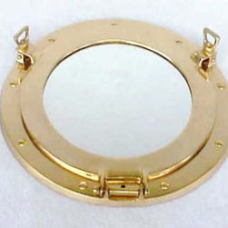 Solid Brass Porthole Mirror - I love this little portal mirror; it would be such a cute little something unique.