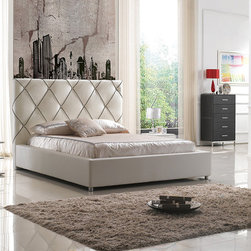 White 3 PC Bedroom Set (Bed and 2 Nightstands) - The bed is available in Queen and King Sizes. These Full Leather Nightstands offer one Tempered Glass Shelf, open design and wraped in full leather
