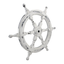 Zeckos - Nautical Whitewashed Wooden Ships Wheel 24 Inch - This wooden ship's wheel complements beach themed or nautical decor in your home, office, restaurant, or bar. It measures 24 inches in diameter, 1 1/2 inches thick, and has a distressed, whitewashed finish. It adds a wonderful accent to porches or patios, and makes a great gift for sailing enthusiasts.