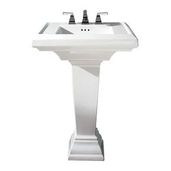 """American Standard - American Standard 0790.400.020 Town Square Pedestal Sink, White - American Standard 0790.400.020 Town Square Pedestal Sink, White. This pedestal sink set has a classic American design with it's clean straight lines and ogee curves. It comes ith a supplied mounting kit, a rear overflow, and a fireclay construction. This model comes with 4"""" centered faucet mounting hole, and it measures 24"""" by 20-1/4"""", with a 6-1/2"""" bowl depth."""