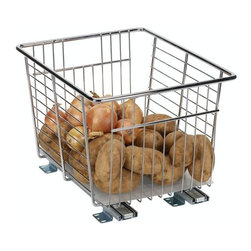 """Household Essentials - Veggie Bin - This Pull-Out Veggie Bin helps keep your dry storage produce fresher longer.  The large basket easily holds onions potatoes and other dry vegetables while still letting air circulate keeping your veggies fresher longer.  An easy-to-clean basket liner keeps your veggies safely contained and protects your cabinet and pantry shelves.  Sturdy full extension ball-bearing glides help make every inch of your cabinet space accessible by essentially bringing the back of your cabinet to you.   Details:   Pull-Out Veggie Bin  Sized for 13"""" wide cabinets or pantries  Accommodates 17.75"""" deep cabinets  Full-extension glides  Made from commercial grade heavy-duty chrome wire  Comes fully assembled  Quikfit  technology for easy installation (all hardware included)  Dimensions: 11""""h x 13""""w x 17.75""""d27.9cm x 33cm x 45cm"""