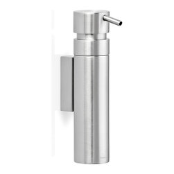 Blomus - Nexio Wall-Mounted Soap Dispenser, Brushed - The Nexio Brushed Wall-Mounted Soap Dispenser is made with matte finished stainless steel and includes pump handle dispenser. Includes wall-mounting kit.Volume: 3.38 fl. oz. (100 milliliters)