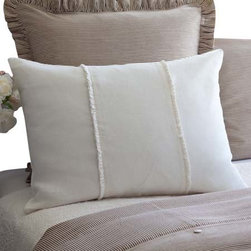 """Taylor Linens - Hampton Cream Standard Sham - One of our most popular collections, the Hampton collection features high quality linen and linen voile, clean lines, feminine details, and mother of pearl buttons. 100% Linen Voile. Machine Washable. Cream. 21""""x27"""""""