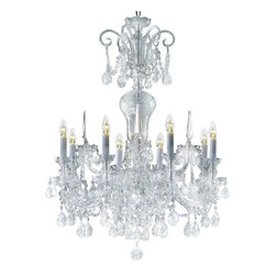 """Inviting Home - Bohemian Crystal Chandeliers (traditional crystal) - Bohemian traditional crystal chandelier with cut crystal trimmings; 30"""" x 41""""H (8 lights); assembly required; 8 light clear traditional crystal chandelier with hand-molded arms and machine-cut crystal trimmings; all metal parts are chromium plated; genuine Czech crystal; * ready to ship in 2 to 3 weeks; * assembly required; This chandelier is a part of Bohemian Classic Collection. Under the name """"Bohemian chandeliers"""" it is impossible to imagine nothing more characteristic than crystal machine-cut chandeliers. Their all-crystal appearance with added non-glass materials makes them ideal representatives of the traditional Bohemian classic. The crystal beauty is then enhanced by mouth-blown cut components or hand-cut chandelier trimmings used. It is just these elements that rank these fixtures among """"jewels"""" illuminating luxurious interiors. The tradition of production luxurious appearance and classical morphology are the common denominator of all these chandeliers. To manufacture these almost 90 percent is hand-completed: mouth-blowing cutting and other techniques applied when working glass and metals. Machine-cut crystal chandelier trimmings and artistically chased metal parts provide a stamp of luxury. Devotees of these lighting fixtures come mostly from the circles of the lovers of magnificent designs created in the style of the timeless classic. Every component passes thorough strict internal Quality Control processes. Highest quality European production with certified standards."""