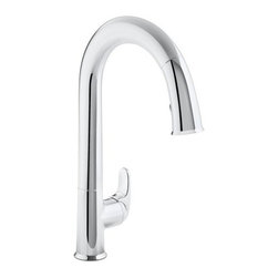 "Kohler - Kohler K-72218-CP Polished Chrome Sensate Sensate Pullout High Arch - Product Features:  Premium metal construction of faucet body and handles ensures reliability Covered by Kohler's limited lifetime faucet warranty Kohler finishes are guaranteed to resist corrosion and tarnishing This faucet takes touchless to a whole new level of convenience The Sensate touchless faucet frees your hands so you can speed thorugh cooking and cleaning tasks while maintaining a more hygienic kitchen environment High arch gooseneck spout allots more space to work and greater access to all areas of the sink Features a pullout spray faucet head and hose Spout swivels 290-degrees to allow for greater sink access Designed to install easily with standard U.S. plumbing connections All hardware needed for installation is included  Product Technologies / Benefits:  Response Technology: Providing reliable touchless on/off operation through a state-of-the-art sensor that responds within 20 milliseconds. Response is in tune with your every move; a simple wave of the hand, or other object such as utensil or pan, turns it on or off. The sensor is precision designed to provide reliable operation every time and prevent false activations while you do other tasks in the sink area. DockNetik: A magnetic docking system located within the spout smoothly glides and securely locks the spray head into place. DockNetik design truly eliminates the inconvenience of older model pullout faucets, the loose connections and sagging spray heads are a thing of the past; these faucets will provide a firm, tight docking every time.  Product Specifications:  Overall Height: 15-1/2"" (measured from counter top to the highest point on faucet) Spout Height: 9-9/16"" (measured from counter top to spout outlet)"