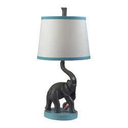 Dimond Lighting - Dimond Lighting Eliza the Elephant 1-Light Painted Table Lamp - This stylish table lamp is perfect for animal lovers, its beautiful elephant design providing a distinctive appeal to any room. Its subtle colors and the soft illumination it can give make for a relaxing ambiance that can melt your tension away.