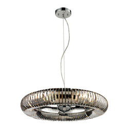 ELK Lighting - ELK Lighting 14175/6 Alexia 6 Light Pendants in Stainless Steel - Rings of stainless steel are cleverly formed into one large ring in this attention grabbing pendant.  Light inside of the sleek ring interacts brilliantly with the Polished Chrome finished hardware.