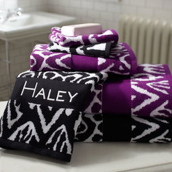 Urban Ikat Bath Towels - A bold ikat design is Jacquard woven on this super absorbent cotton terry towel. It's yarn dyed, so the color will stay eye-popping.