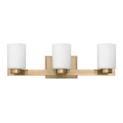 Hinkley - Hinkley 5053BC Miley 3 Light Bathroom Fixture in Brushed Caramel 5053BC - 3 Light Bathroom Fixture.With white etched glass, cast stepped back plate and cast glass holders G9 Halogen Bulb (included)Back Plate Height: 4-1 2 Back Plate Width: 6-1 2 Bulb Type: Halogen Certification: c-UL-us Damp Collection: Miley Energy Star Compliant: No Extension: 5-1 2 Finish: Brushed Caramel Glass: Etched Opal Glass Height: 6 Light Direction: Up Down Lighting Max Wattage: 60 Number of Lights: 3 Shade Shape: Cylinder Socket 1 Base: G-9 Socket 1 Max Wattage: 60 Style: Contemporary Modern Suggested Room Fit: Bathroom, Bedroom TTO: 3-3 4 Voltage: 120 Weight: 6 Width: 21-1 2
