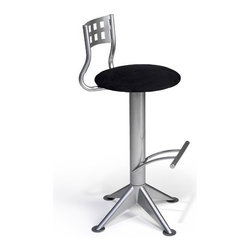 """Createch - Neon 30"""" Barstool - Features: -Bar height barstool. -Neon collection. -Heavy gauge steel construction. -Contemporary bar stool with upholstered and seat 17"""" round. -Large choice of fabrics is available. -Ultra resistant construction. -Nice choice of metal color. -Environment friendly production process, non - toxic paint and fabrics. -High temperature baked powder coating finish insure long - lasting. -360 degree swivel system install in the stool base. -Fire retardant high density foam. Specifications: -UPS quick ship program 5 - 10 days. -High quality made in North America. -Minimal assembly required (Seat on base). -Efficient welding joints warranty for five years. -Seat Height: 30"""". -Overall dimensions: 38.25"""" H x 21.5"""" W x 21.5"""" D."""