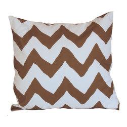 "Brown Bargello 22"" Pillow - Printed Cotton, 10/90 Down Insert"