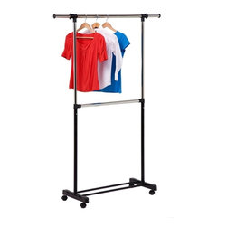 Honey-Can-Do International - Double Bar Garment Rack, Chrome/Black - Our Double Bar Garment Rack, Chrome/Black is the perfect solution for those that need extra hanging storage space, this attractive and functional garment rack is a nice addition to any laundry room, bedroom, or foyer. Sitting on smooth rolling casters, the rack moves easily from room to room. Features two hanging bars and adjustable height and width for 90 inches of hanging space.