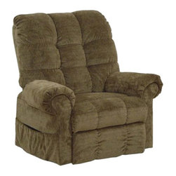 "Catnapper - Catnapper Omni Power Lift Full Lay-Out Chaise Recliner Chair in Thistle - Catnapper - Recliners - 4827210215 - This Omni ""Power Lift"" Full Lay-Out Chaise Recliner by Catnapper is the most convenient and ultimate lift chair with long life performance. This Large Scale / Heavy Duty recliner features Comfort Chaise Seating, Plush Pad Roll Arm and Steel Seat Box. It has 450 Lb. Weight Capacity. It is available in Saddle Suede or Thistle, Chianti, Black Pearl, and Havana Chenille. Relaxed and casual look will make this recliner fit into any living room, den or family room!"