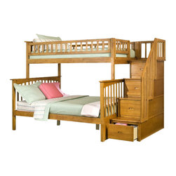 Atlantic Furniture - Atlantic Furniture Columbia Staircase Bunk Bed Twin Over Full in Caramel Latte - Atlantic Furniture - Bunk Beds - AB55707