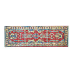 1800-Get-A-Rug - Tribal Design Runner Hand Knotted Rug Kazak Sh11627 - About Tribal & Geometric
