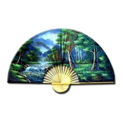 Oriental Unlimited - Asian Forest Wall Art Fan (40 in. W x 24 in. - Choose Size: 40 in. W x 24 in. HWaterfalls spill over rocks surrounded by lush green trees as part of the lovely landscape featured on this wall fan, a dramatic addition to any decor. Finished in saturated shades of blue and green, the fan is available in your choice of size options. 24 in. H x 40 in. W. 35 in. H x 60 in. WDeep in the heart of the Orient lies a peaceful forest. Inside is the serenity that can only be found in Asia, as soft-moving waterfalls spill their waters and a beautiful meadow calmly lies near.
