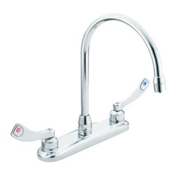 Moen - Moen 8289 M-Dura Two-Handle Kitchen Faucet (Chrome) - The M-Dura series faucets feature a variety of simple and functional faucets for any commercial application.