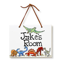 Jamie's Painting & Design - Hand Painted Name Plaque - Dinosaurs - Hand Painted Name Plaque - Dinosaurs