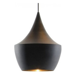 "Tom Dixon - Tom Dixon Beat Fat Black Pendant Light - The Beat Fat Black Pendant Light is designed by Tom Dixon and made by Tom Dixon. A series of lights inspired by the sculptural simplicity of brass cooking pots and conventional water vessels on the subcontinent. The Beat lights are spun and hand-beaten by renowned skilled craftsmen of Moradabad in Northern India.The design and inception of the Beat Lights originated from a field trip to India that Tom Dixon took his Royal College students on. Their mission was to investigate how design affects the livelihood of different cultures and peoples. They spent days with local tinkerers, brass beaters and marble workers. It was there that they discovered a method of metal manufacturing that appealed to them because of its heritage and unique aesthetic. The Beat Lights employ these conventional techniques in their production. Inspired by the shapes of conventional Indian water vessels. Beat Light - Fat is a pendant made from spun brass with a hand-beaten interior. The exterior is a black painted finish. Includes black metal 4.9""D ceiling canopy. Provides direct illumination."