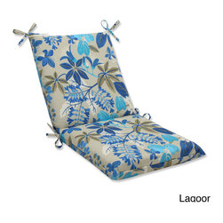 Pillow Perfect - Outdoor Fancy A Floral Squared Corners Chair Cushion with Ties - Relax in style and comfort with the Fancy A Floral weather and UV-resistant outdoor chair cushion. Available in a Caribbean and lagoon finish,this cushion features squared corners and ties that attach securely to the furniture.