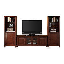 "Crosley - Cambridge 60"" Low Profile TV Stand and Two 60"" Audio Piers in Vintage Mahogany - Our 60"" Low Profile TV stand and audio pier combination offers a unique solution for both display and storage. Extremely versatile, this combo features adjustable shelves allowing you to effortlessly organize by design. Two audio piers save space yet provide abundant storage options, while the TV stand offers a cord management system that tames the unsightly mess of tangled wires."